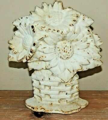 Vintage Cast Iron Door Stop Sun Flowers  Bouquet Weave Basket Heavy Doorstop