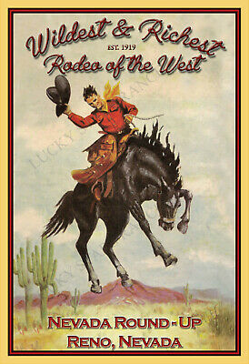 Nevada Round Up Reno Nevada Rodeo -  VINTAGE-  RODEO POSTER