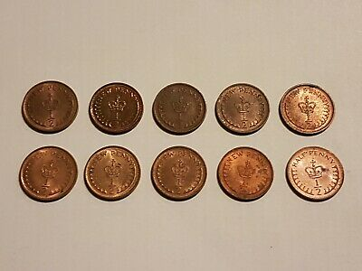 Old small half Penny coins collection ×10 all dates listed