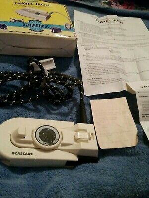 cascade Folding Flat Travel Iron with box Retro. with woolworrhs receipt.1997.