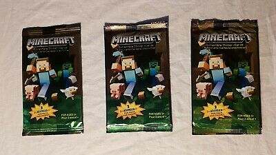 Collectible Minecraft Sticker-cards Lot Of 3
