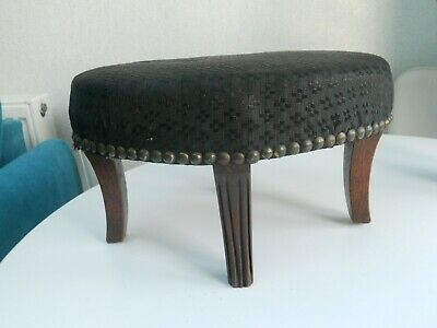 Antique Small Oval Mahogany Footstool With Upholstered Top