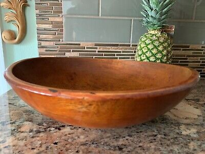 Antique Primitive Wooden Bread Bowl ~ Patina ~ 14""