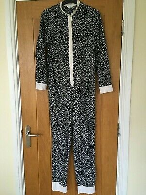 M&S women's leopard print black white grey fluffy all in one, one piece,  8 - 10