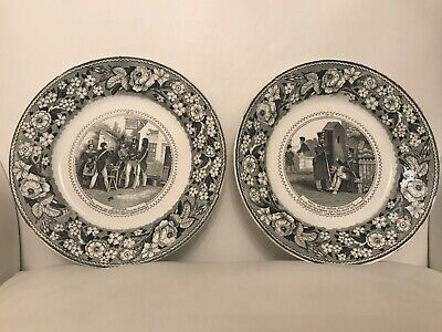 Antique French  2pc Cabinet Plate Set, Military Theme Figural Scene N3 & N59
