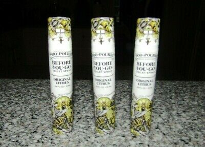3 X POO-POURRI Before-You-Go Toilet Spray 10 ml / .34 oz Original Citrus NEW