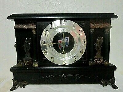 Old Sessions Adamantine Mantle Clock w/Buick Face 4 Column Lion Heads ~ Case