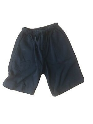 Navy Blue Boy's Marks & Spencer Elasticated Waist Cotton Shorts Age 9 Years