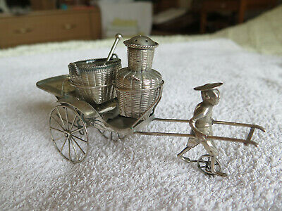 Antique Chinese Stirling Silver Condiment Set on Rickshaw Signed 'TACKHING'