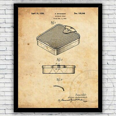 Bathroom Weight Scale Vintage Patent Print Home Decor - Size and Frame Options
