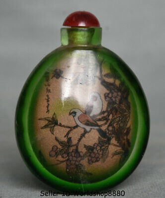 "3"" Old Chinese Green Glass Painting Dynasty Flower Birds snuff box snuff bottle"