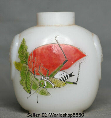 """2.8"""" Old Chinese coloured glaze Dynasty locust Carrot snuff box snuff bottle"""