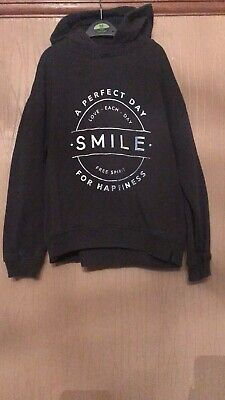 Girls Age 8 Years Next Grey Smile Perfect Day Hoodie Hooded Jumper