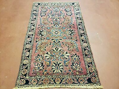 3' X 5' Antique Hand Made Floral Oriental Wool Area Rug Vegetable Dyes Red Nice