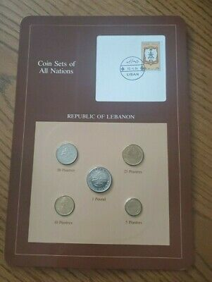 Franklin Mint Coin Sets of All Nations - Lebanon 5 Coins & Stamp