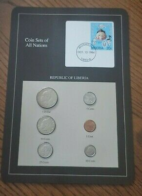 Franklin Mint Coin Sets of All Nations - Liberia 6 Coins & Stamp
