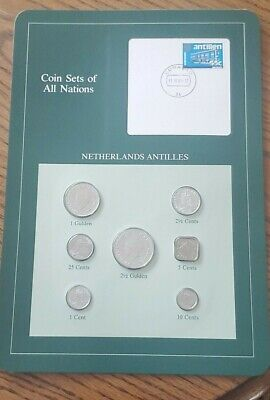 Franklin Mint Coin Sets of All Nations - Netherlands Antilles 7 Coins & Stamp