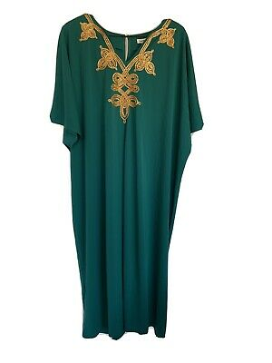 NEW RARE SOLD OUT JOAN RIVERS Emerald Green Gold Embroidered CAFTAN 2X