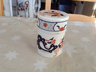 A Lovely Pot In Chinese/Japanese In Style Of Amari Blues And Orange And White