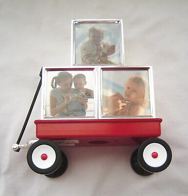 """Lenox """"Childhood Memories"""" Red Wagon Bank with Silver Block Picture Frames"""