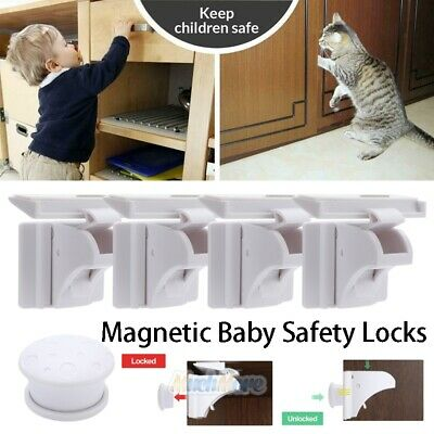 4x Strong Magnetic Cabinet Locks Child Baby Proof Safety Cupboard Door Drawer US