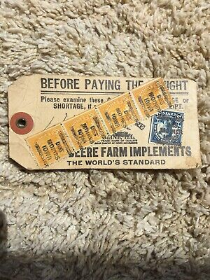 Des Moines John Deere Plow Co Shipping Tag 1923 Postage Cancellation