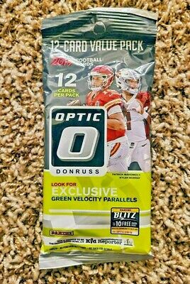 New 2019 Donruss Optic NFL Football 12 Card Value Pack Green Velocity Parallels