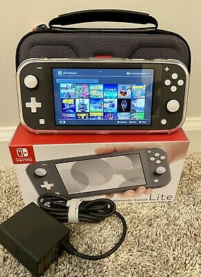 Nintendo Switch Lite - Gray + 256gb SD Card + Clear Case + Travel Case