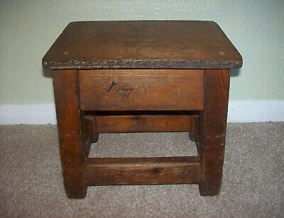 Vintage Hand Made by Carpenter Small Stool Milking Stool