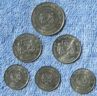SINGAPORE Lot of Six Circulated Coins From 1985-1989