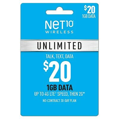 NET10 Wireless  $20 Prepaid Refill Unlimited Talk Text Data No Contract Plan