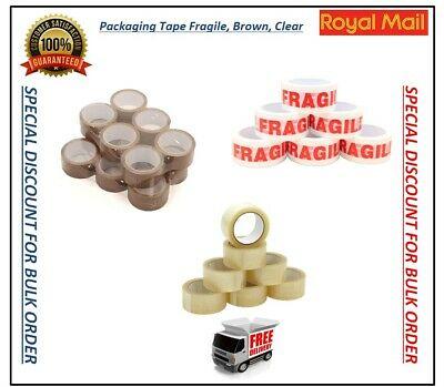 LONG LENGTH TAPE STRONG CLEAR BROWN FRAGILE PACKING PARCEL TAPE 48mm X 66M