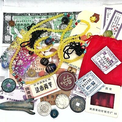 Old Antique Style Vintage Junk Drawer Lot Chinese Asian Collectibles Jewelry Cc