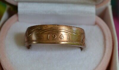 1941 British Half Penny Coin Ring Size 10