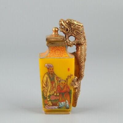 Chinese Exquisite Handmade Old man child Glass Gilt Dragon snuff bottle