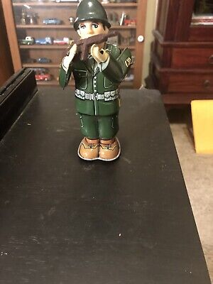 Vintage Mechanical Tin Combat Soldier Windup --Works
