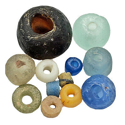 12 Ancient & Medieval Glass Beads Artifacts Antiquities Bible Roman Byzantine
