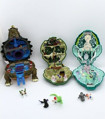 LOT Mighty Max Bluebird Toys compacts with figures plus Ninja turtle compact