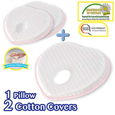 Flat Head Shaping Baby Pillow 2 Washable Organic Cotton Case for Newborn Infant