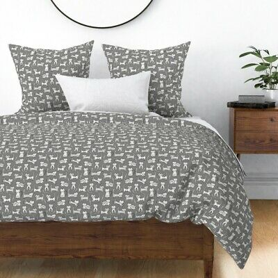 Cats Hipster Black White Cute Animals Pets Cat Sateen Duvet Cover by Roostery