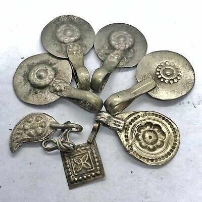 7 Antique Late Or Post Medieval Middle Eastern Islamic Pendant Charms Floral