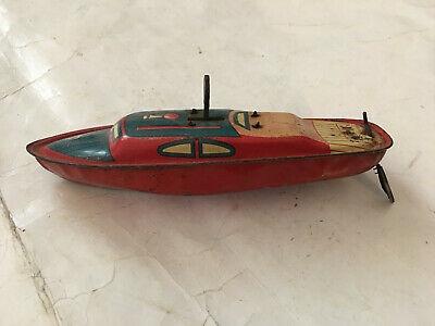 Vintage Tin Toy Boat  Crank Friction Action  Japan