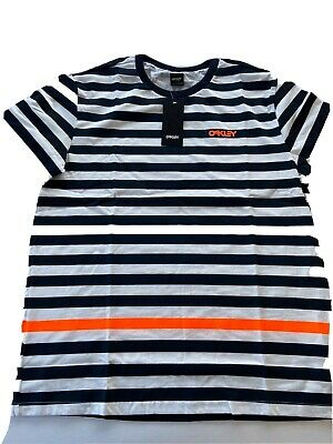 Oakley T-shirt  Mens Size XL Navy Blue and White Stripes Short Sleeve Brand NWT