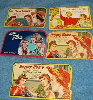Vintage Sewing Needle Books lot of 5 Colorful 1 Japan 1 Deaf Mute