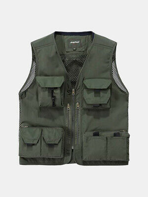 Black, L Only Faith Mens Mesh Quick-Dry Outdoor Photography Pockets Vest Fishing Sleeveless Waistcoat