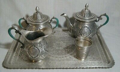 Complete Antique Persian Qajar Isfahan Chased Tea Set 1717g