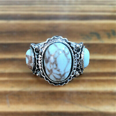 Women Men Vintage Silver Turquoise Ring Wedding Jewelry gift Ring Size 6