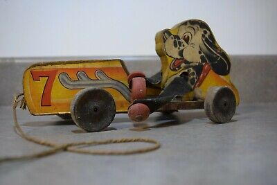 Vintage Wooden Car with Dog Pull toy