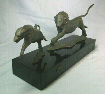 "African Lion & Hyena John Perry Studio Bronzed Art Statue on Black Base 13"" long"