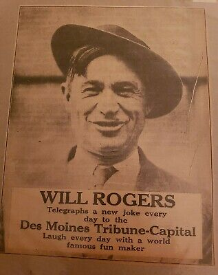 1927 large 7×10 WILL ROGERS newspaper ad